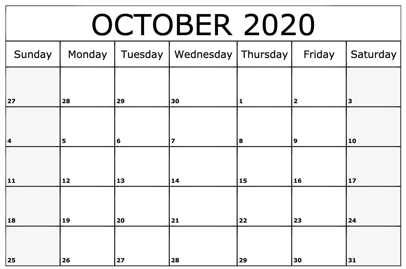 Free Editable October Calendar 2020 Blank Template 1