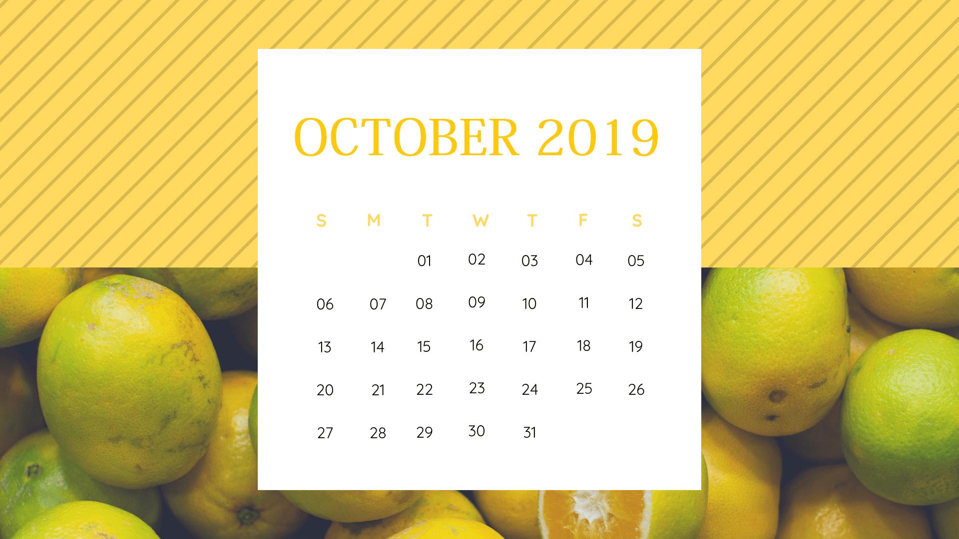 Botanical Fruits October 2019 Cute Calendar