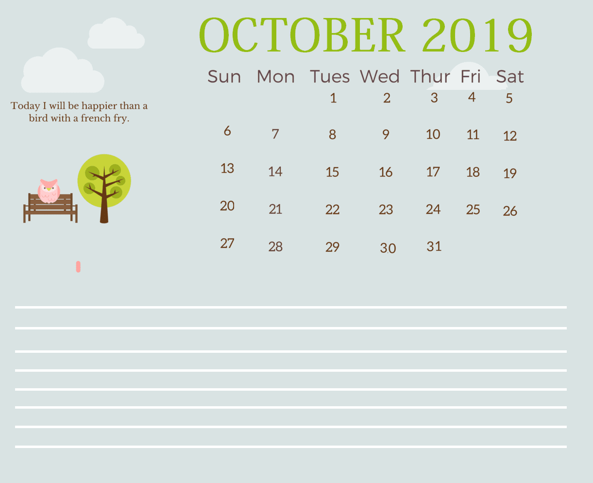 Cute Inspirational October 2019 Calendar