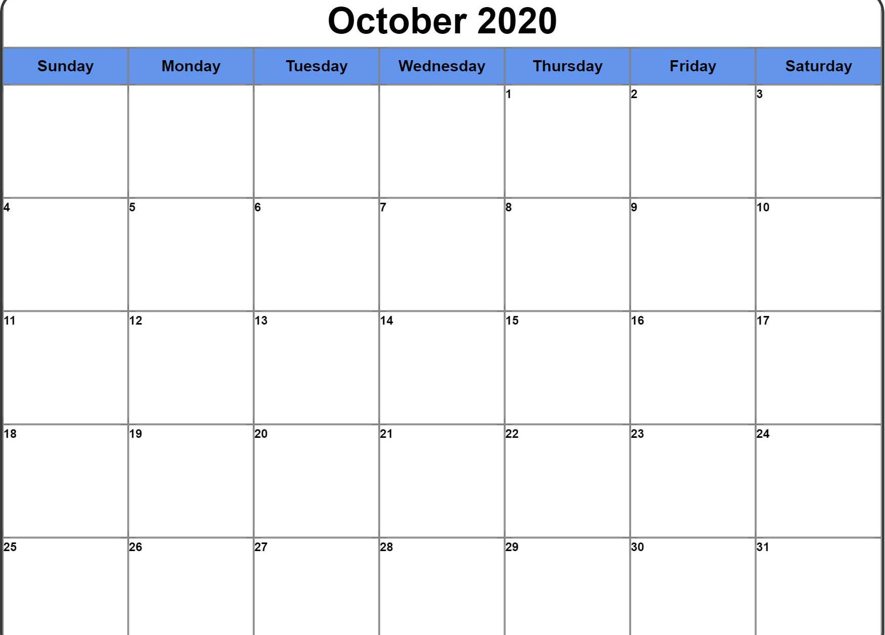 Cute October 2020 Calendar Editable