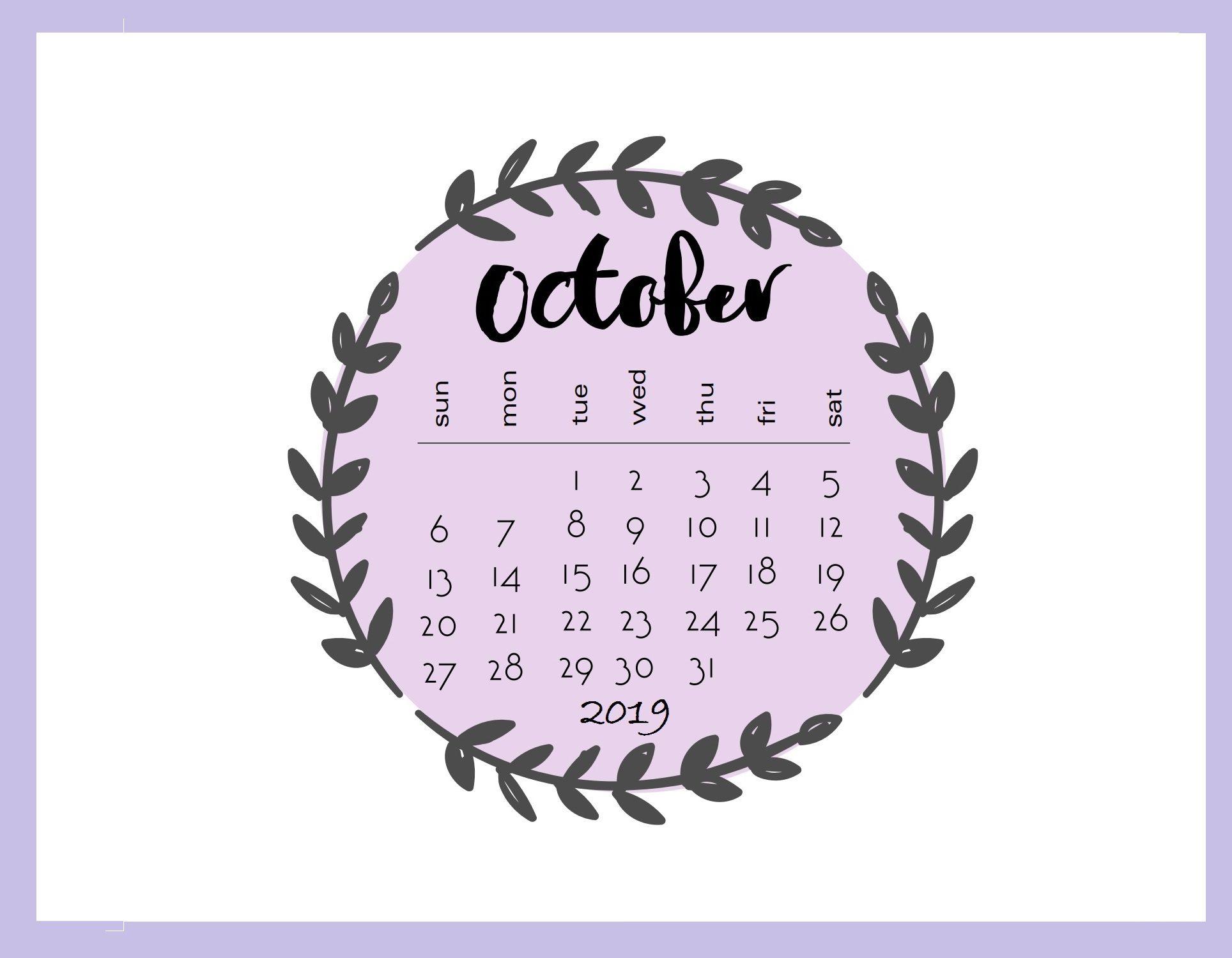 Cute Printable 2019 October Calendar