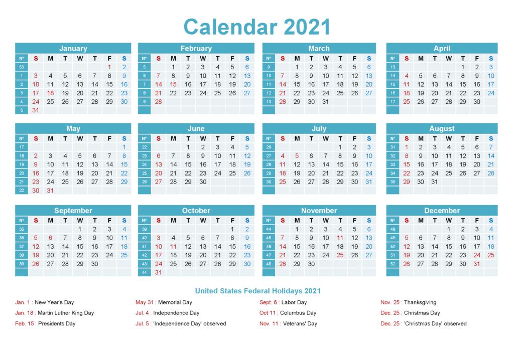 Free Editable 2021 Calendar Printable Template