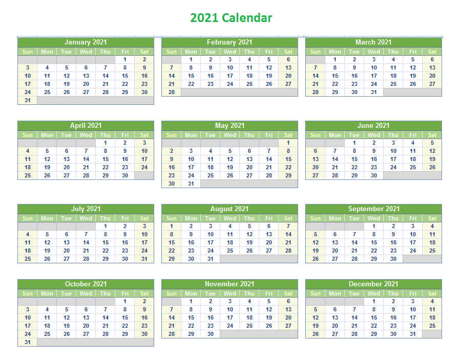 Editable 2021 Yearly Excel Calendar Template