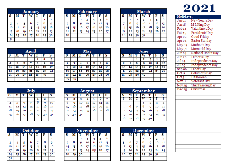 Editable 2021 Yearly Printable Template