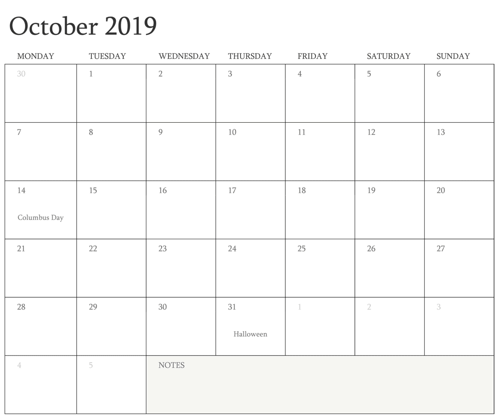 Editable Fillable October Calendar 2019