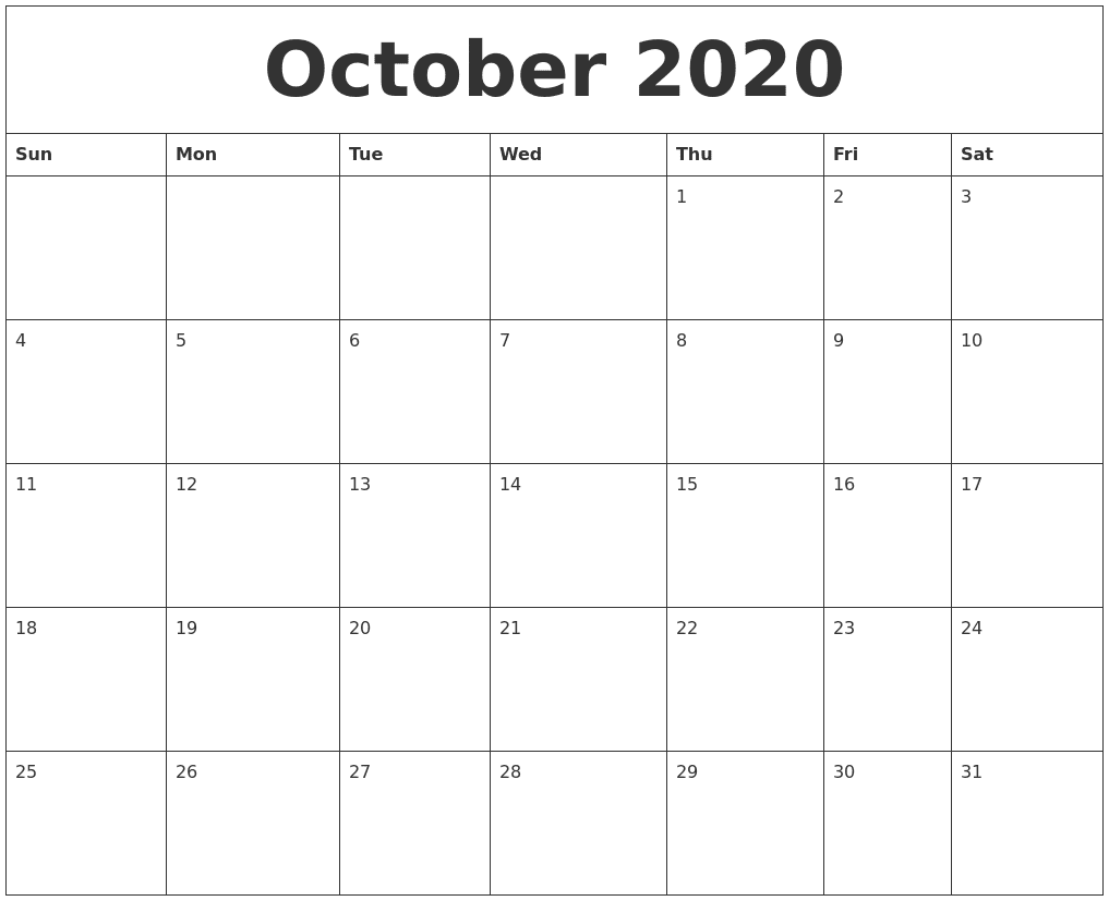 Editable October 2020 Calendar Blank Template