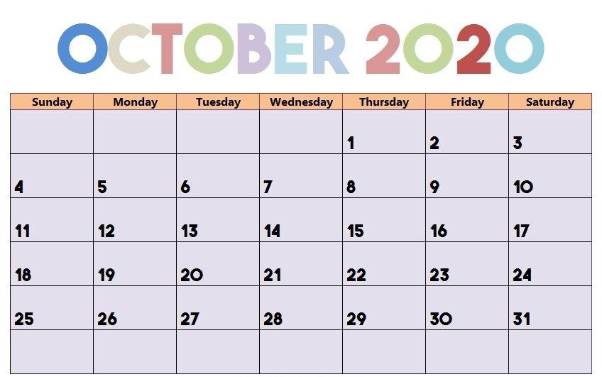 Editable October 2020 Calendar Cute Design