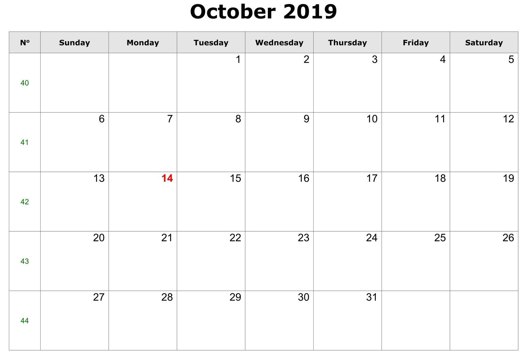 Editable October Calendar 2019 PDF