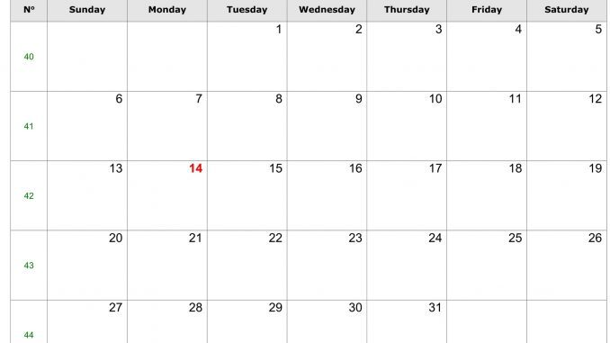 Editable October Calendar 2019 Template