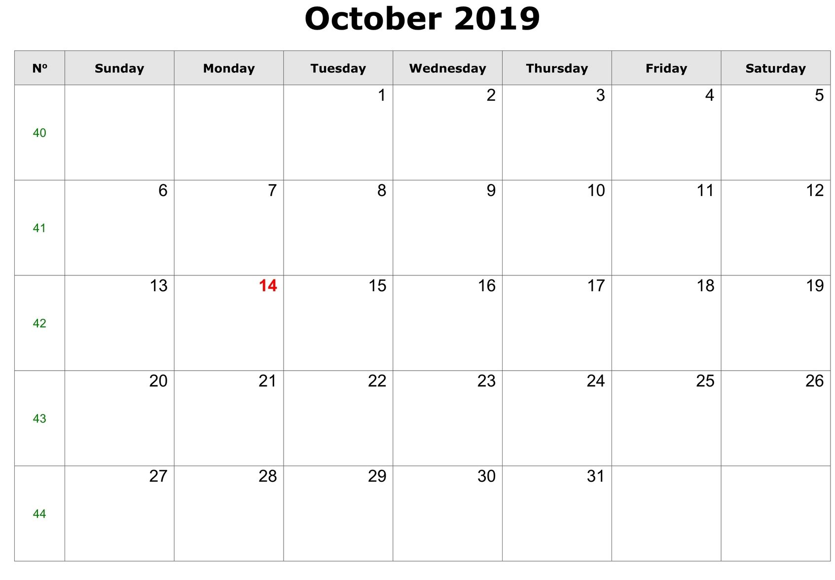 Editable October Calendar 2019 Template