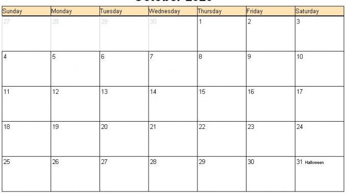 Editable October Calendar 2020