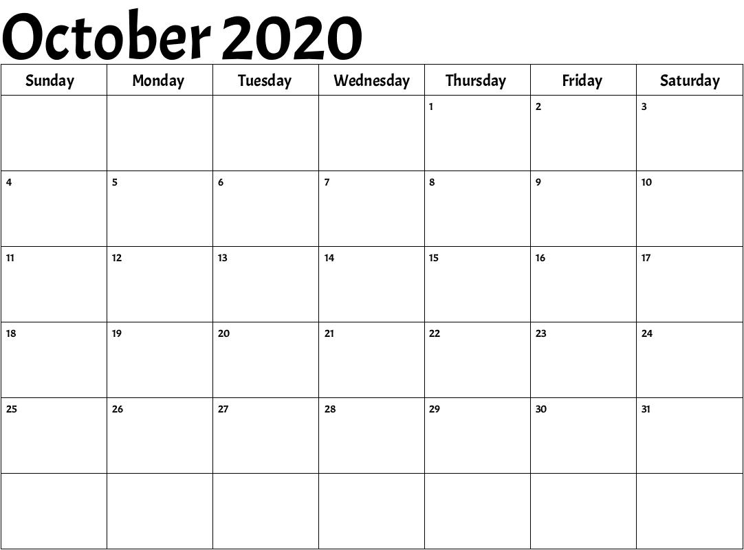 Editable October Calendar 2020 PDF