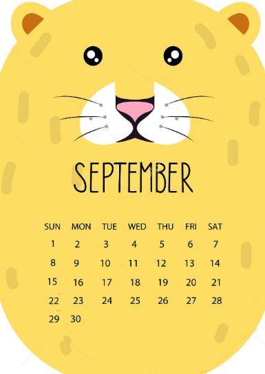 Editable September 2020 Cute Calendar