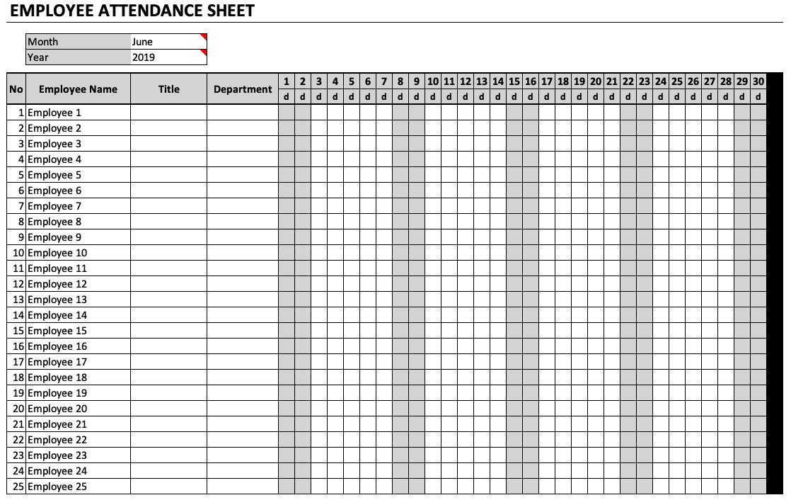 Employee Attendance Sheet PDF