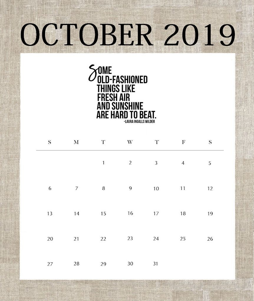 Famous Quote for October 2019 Calendar