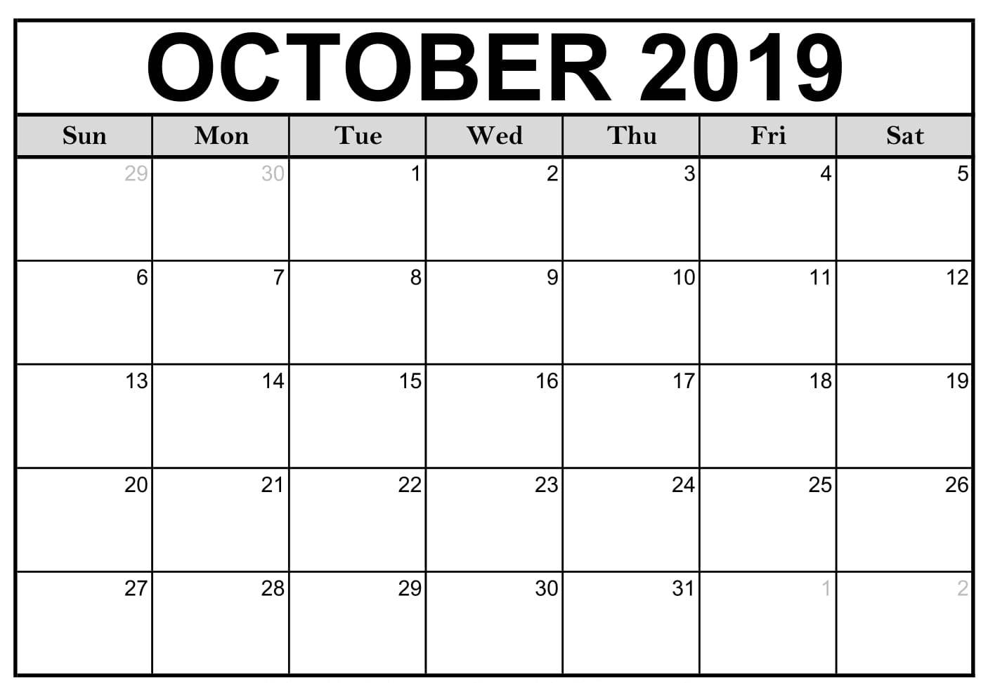 Fillable Calendar For October 2019 PDF