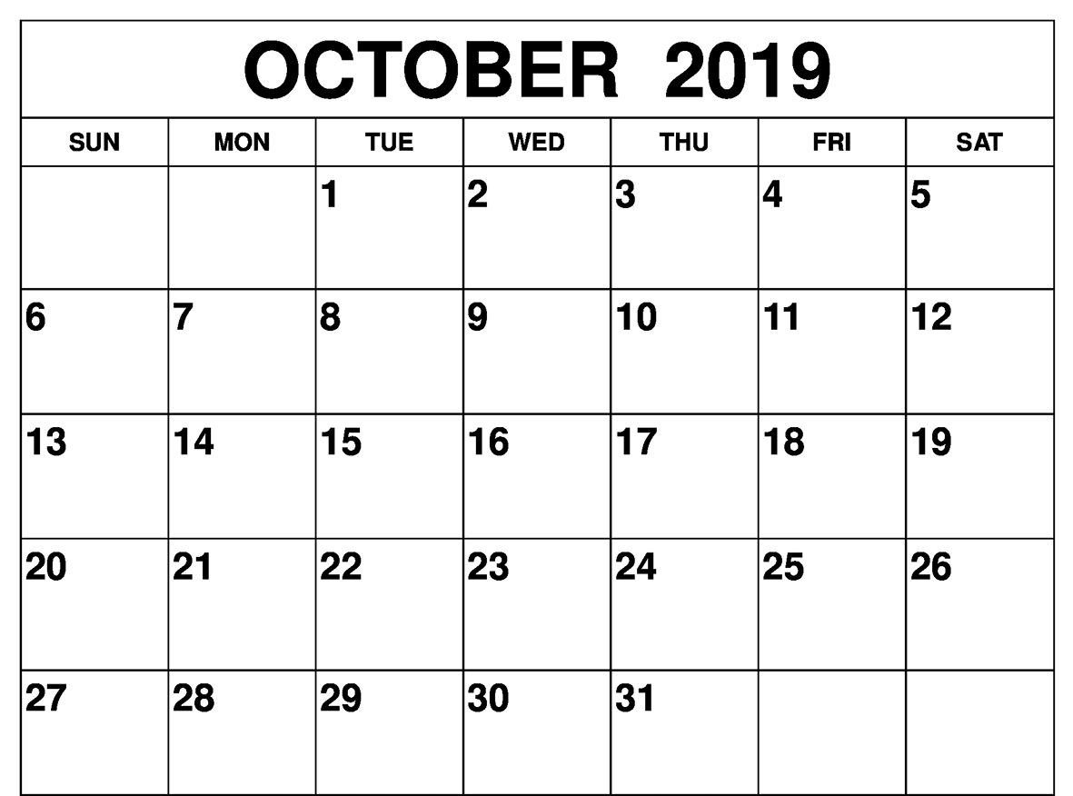 Fillable Calendar For October 2019 Printable