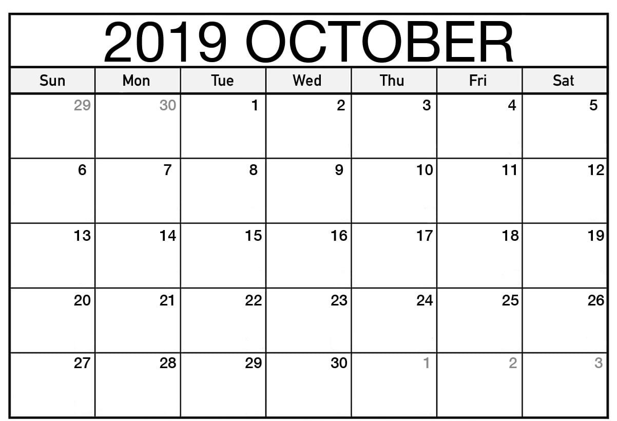 Fillable Calendar For October 2019 Template