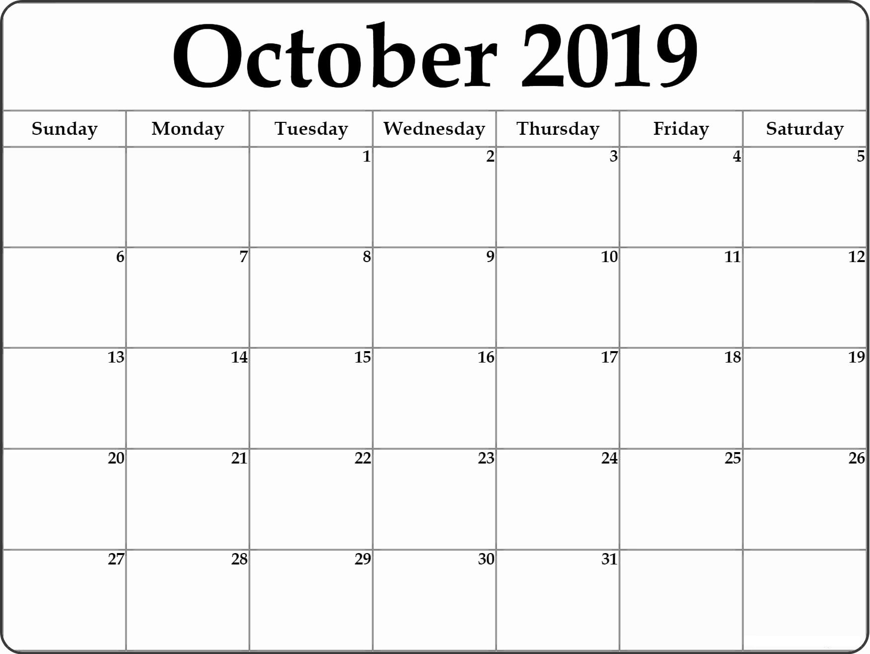 Fillable Calendar for October 2019 With Notes