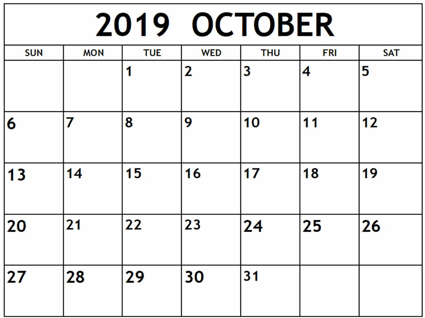 Fillable Calendar For October 2019