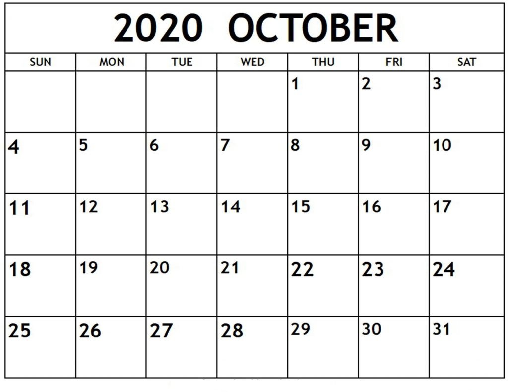 Fillable Calendar For October 2020 Excel