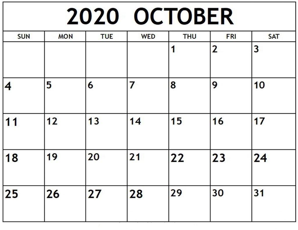 Fillable Calendar For October 2020 Excel