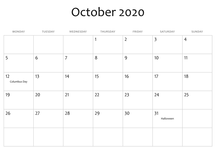 Fillable Calendar For October 2020 Holidays