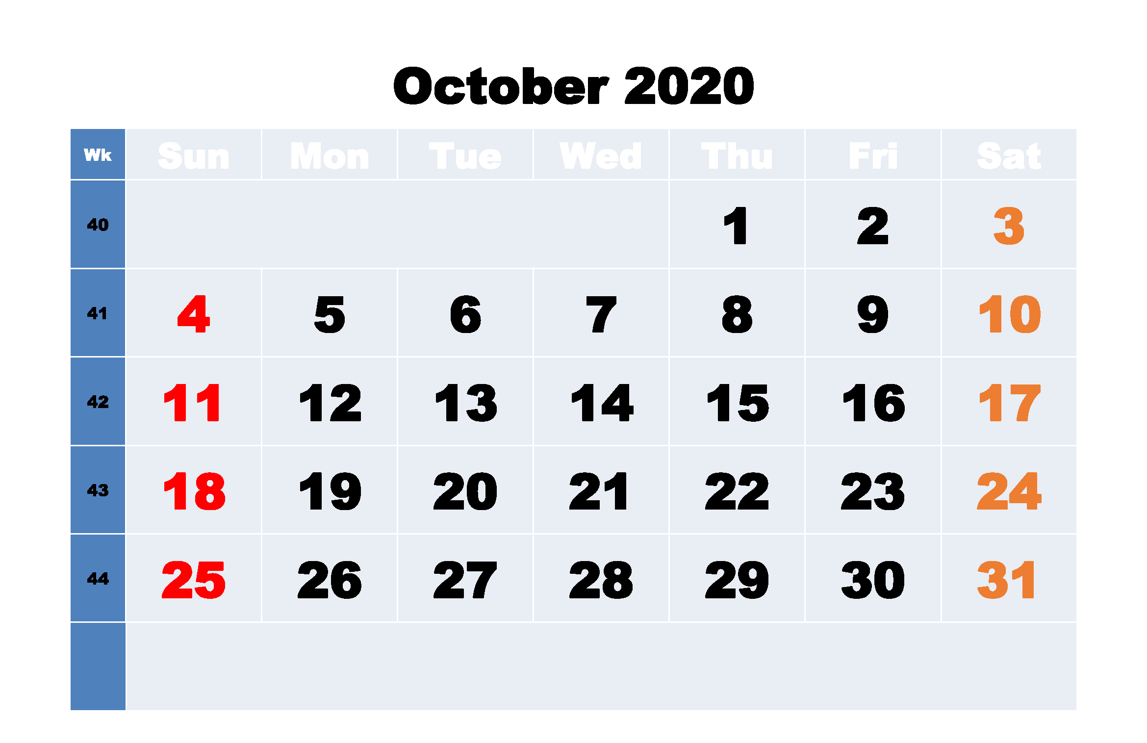 Fillable Calendar For October 2020 Word