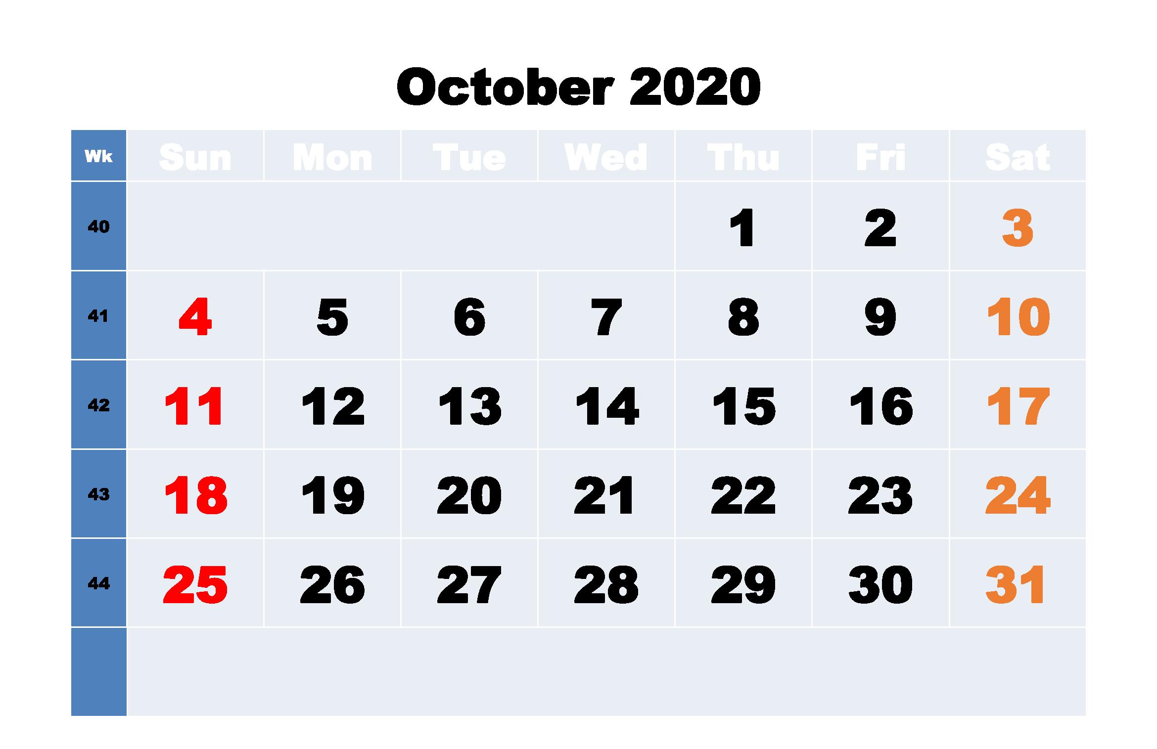 Fillable Calendar For October 2020 Word