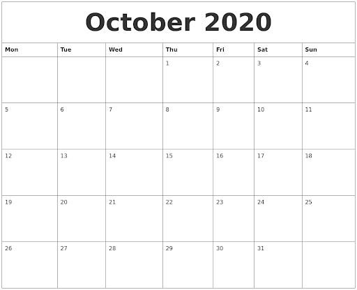 Fillable Calendar For October 2020