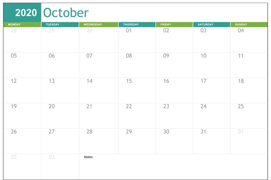 Fillable Calendar October 2020