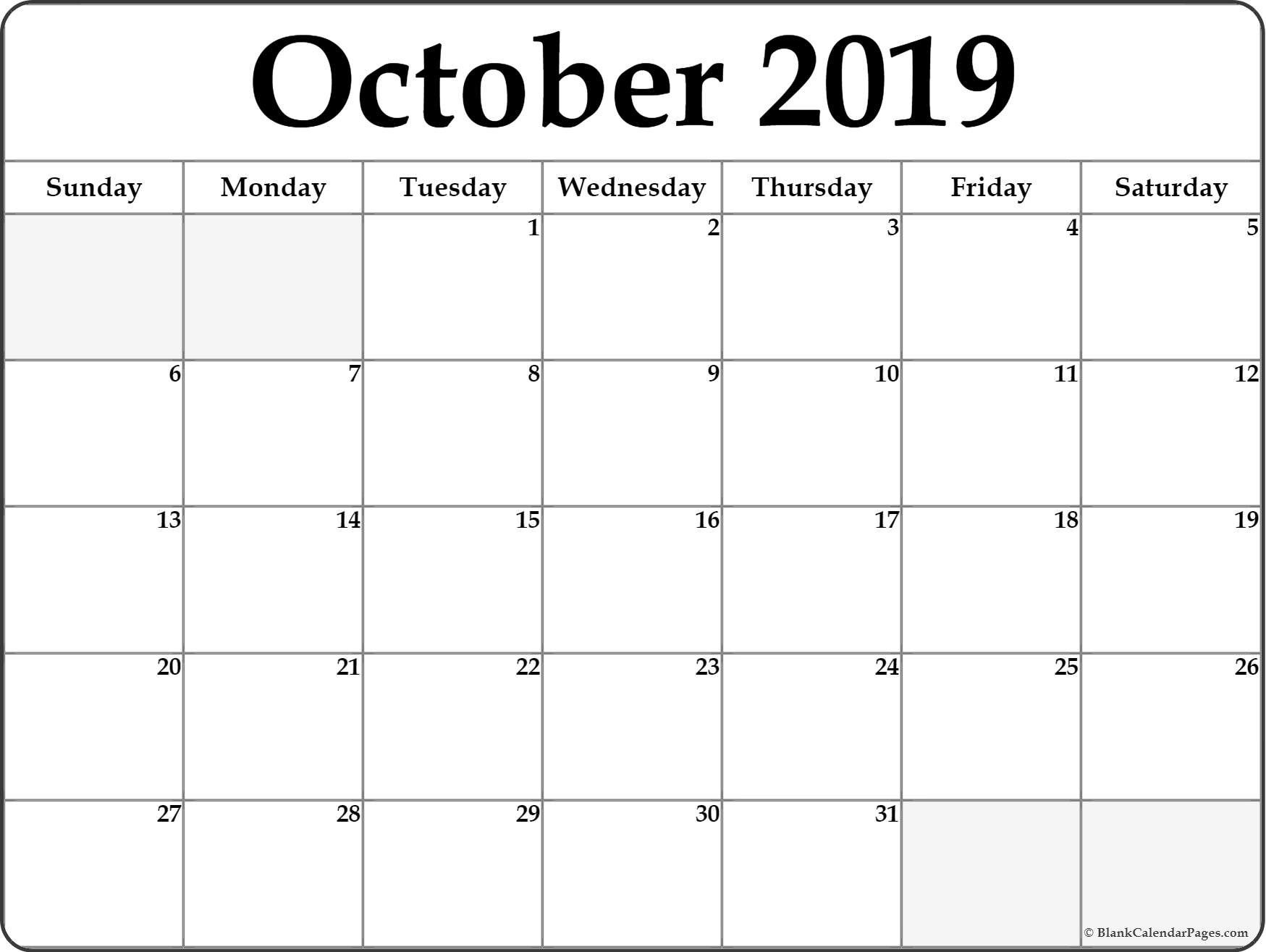 Fillable October 2019 Calendar Printable Free