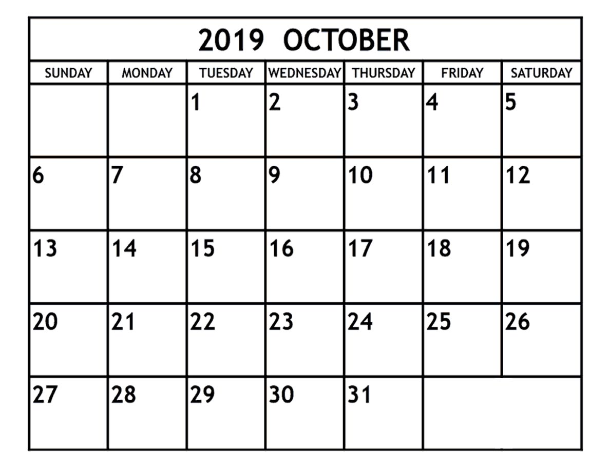 Fillable October 2019 Calendar with Notes