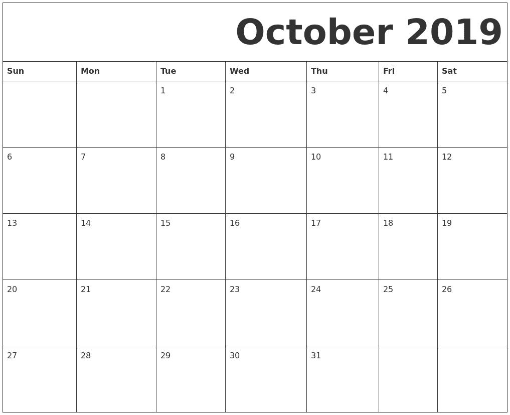 Fillable October 2019 Calendar