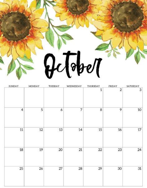 Floral October Calendar 2020