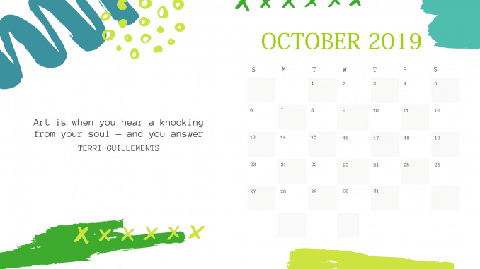 Free Cute October 2019 Quotes Calendar