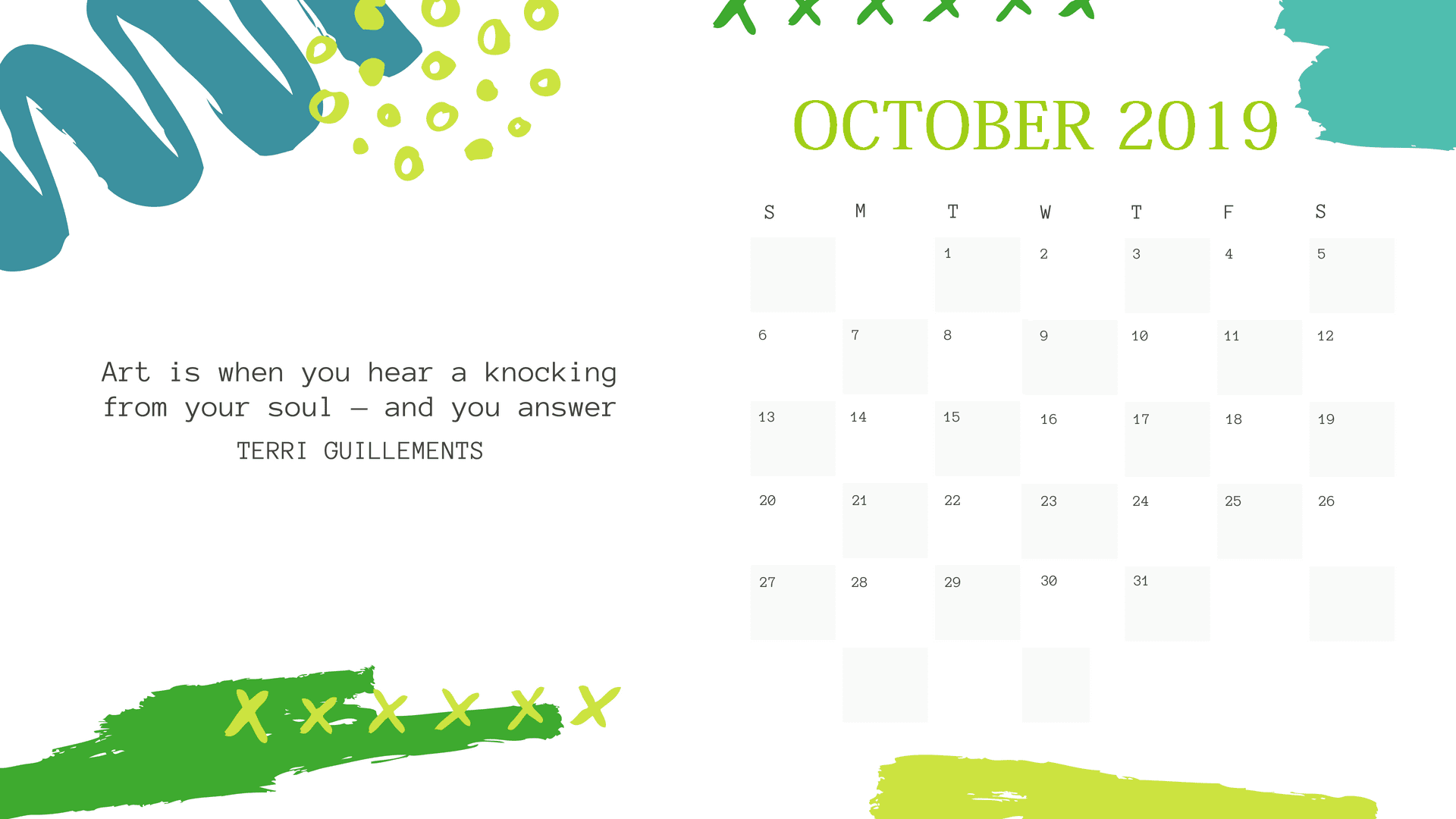 Free Cute October 2019 Quotes Calendar