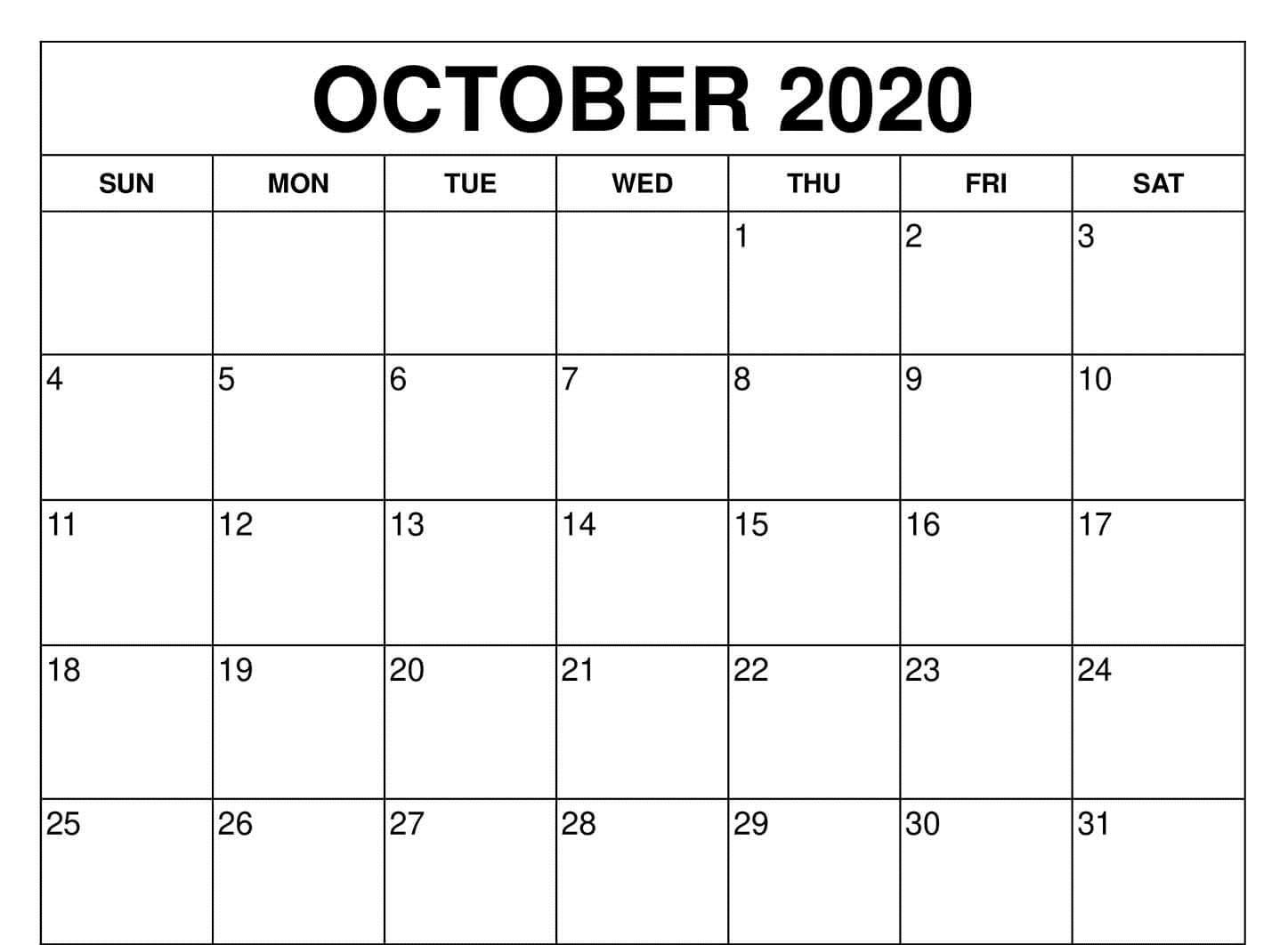 Free Fillable Calendar for October 2020