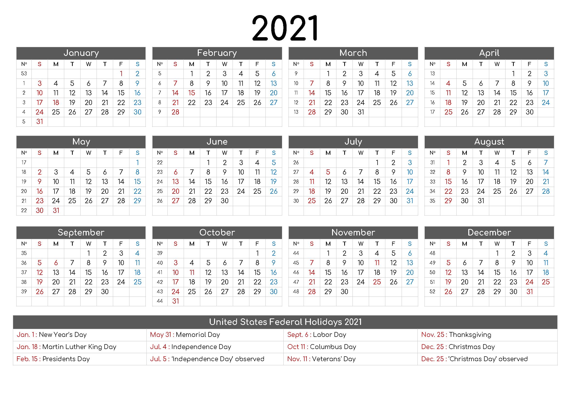 Free Printable 12 Month Calendar 2021