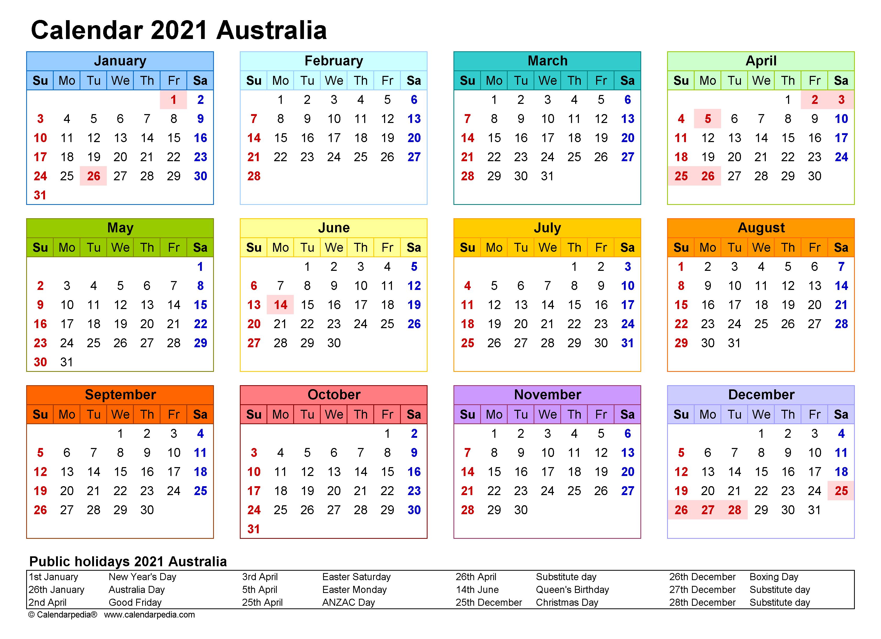 Free Printable 2021 Australia Holidays Calendar Template