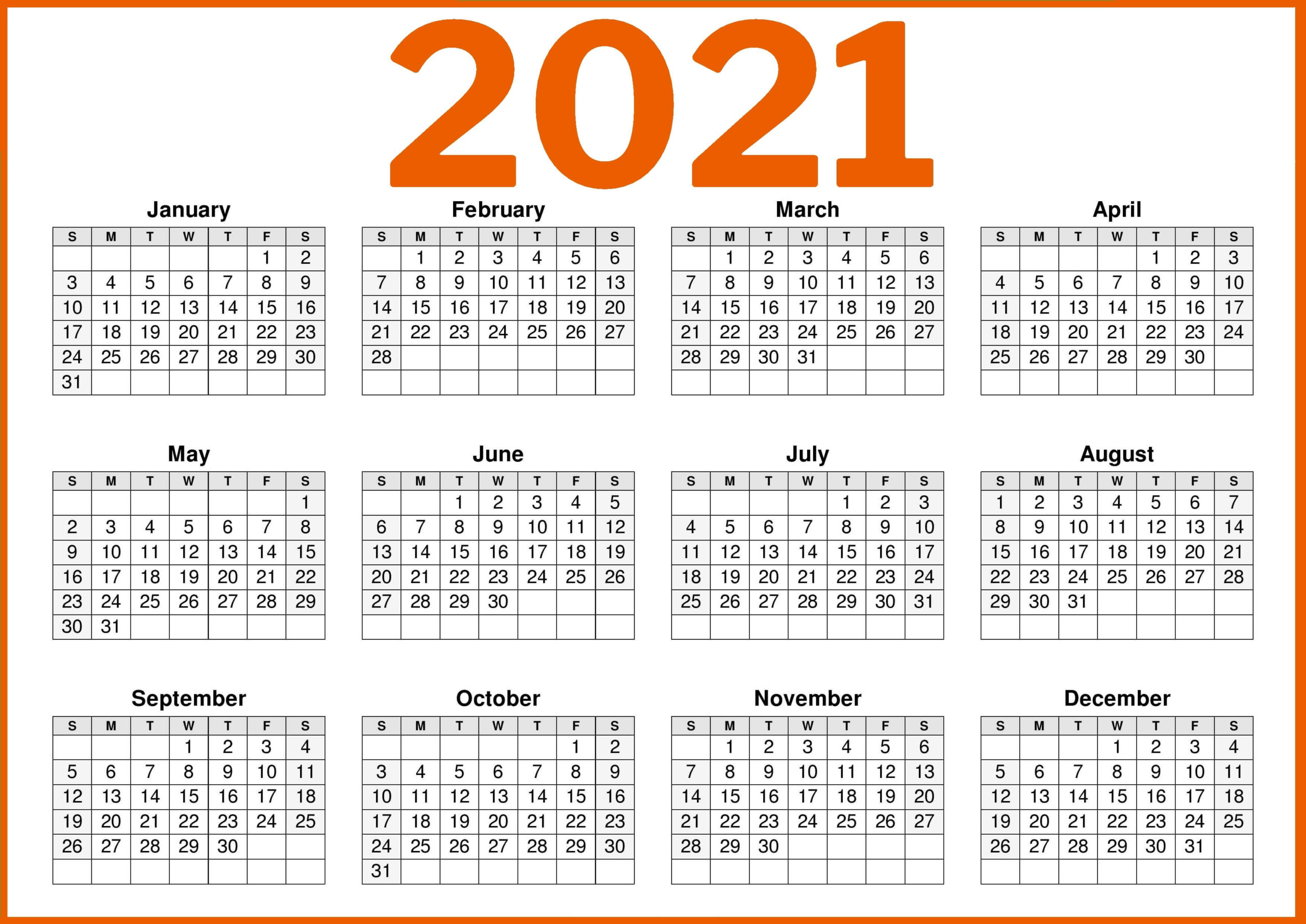 Free Printable 2021 Calendar Template with Notes