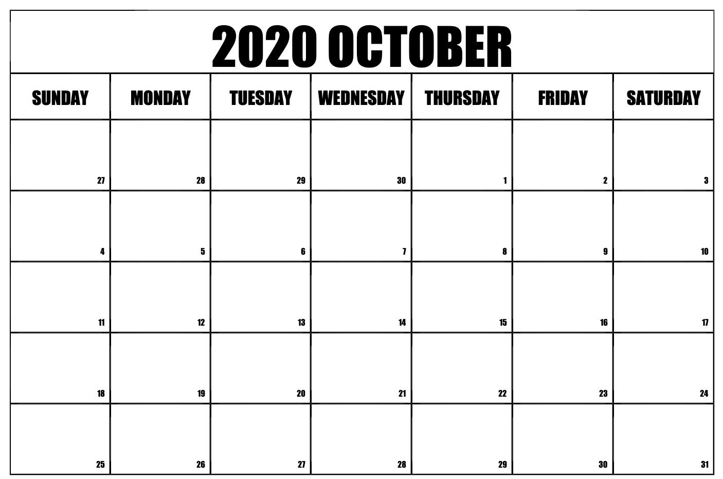 Free Printable Editable October Calendar 2020