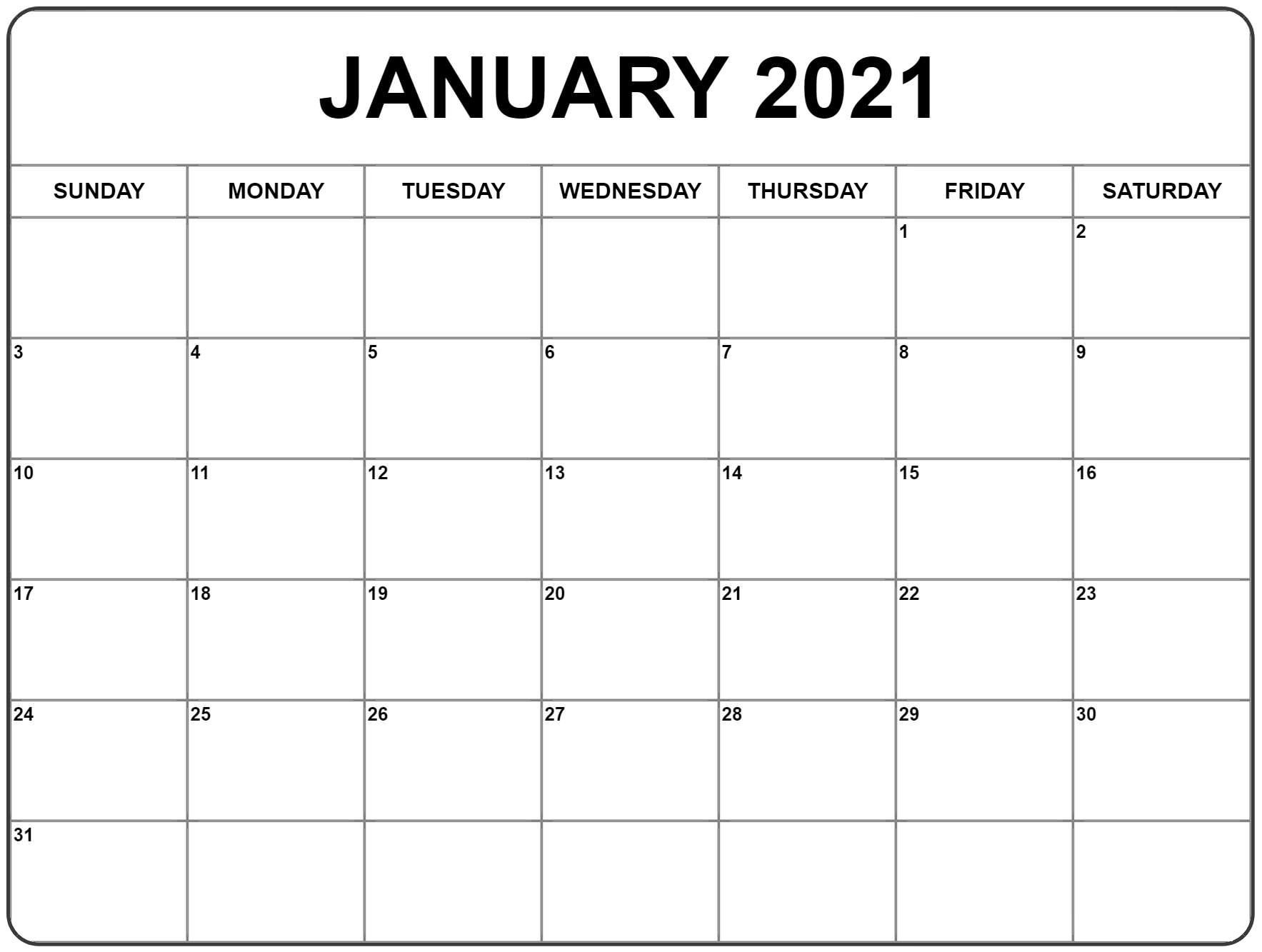 Free 2021 Printable Monthly Calendar With Holidays Word PDF Landscape