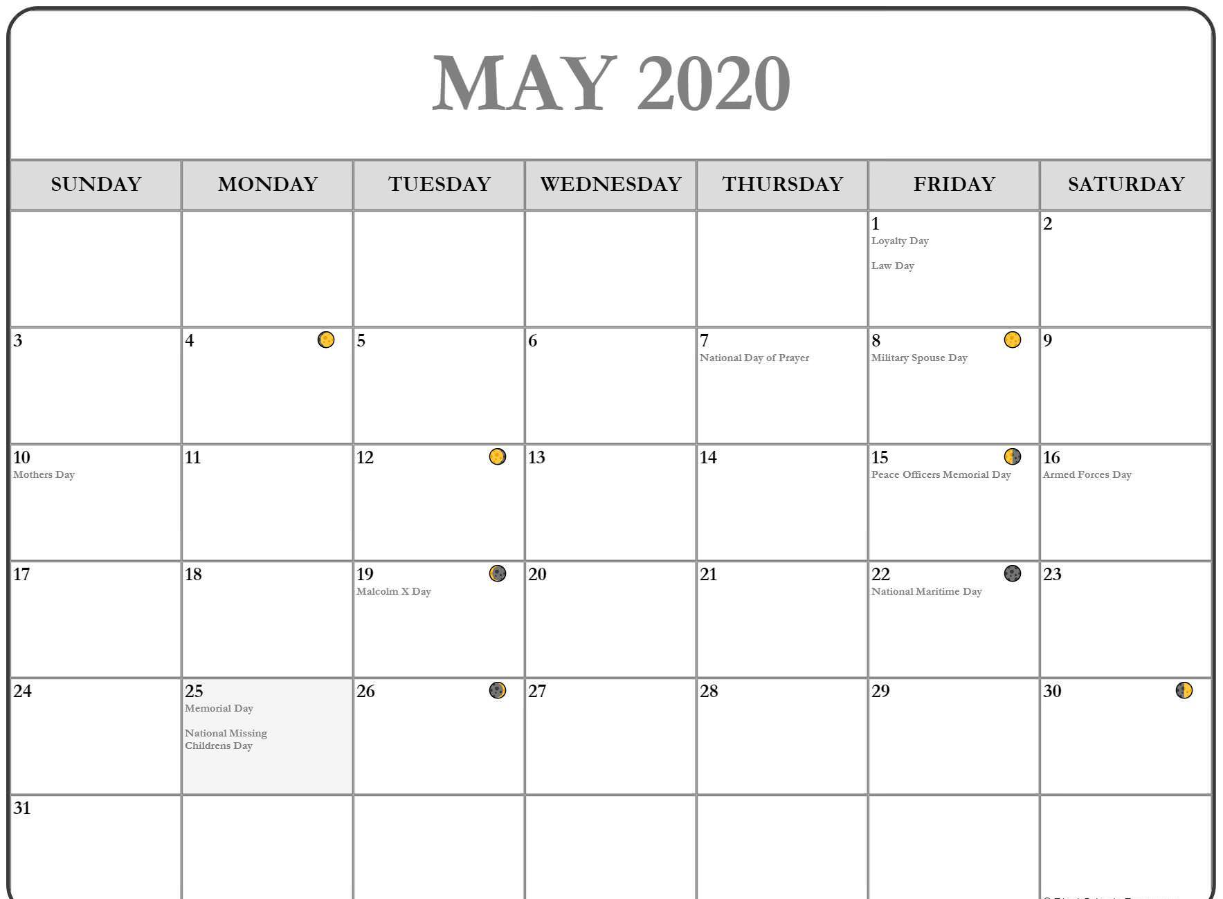 May 2020 Lunar Calendar Template