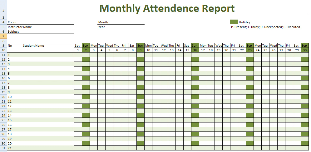 Monthly Attendance Report