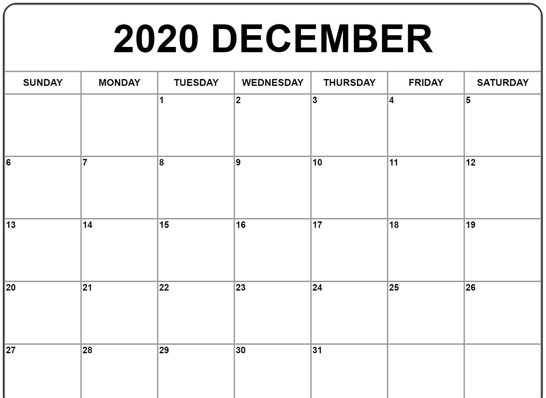 Monthly October 2020 Calendar Template