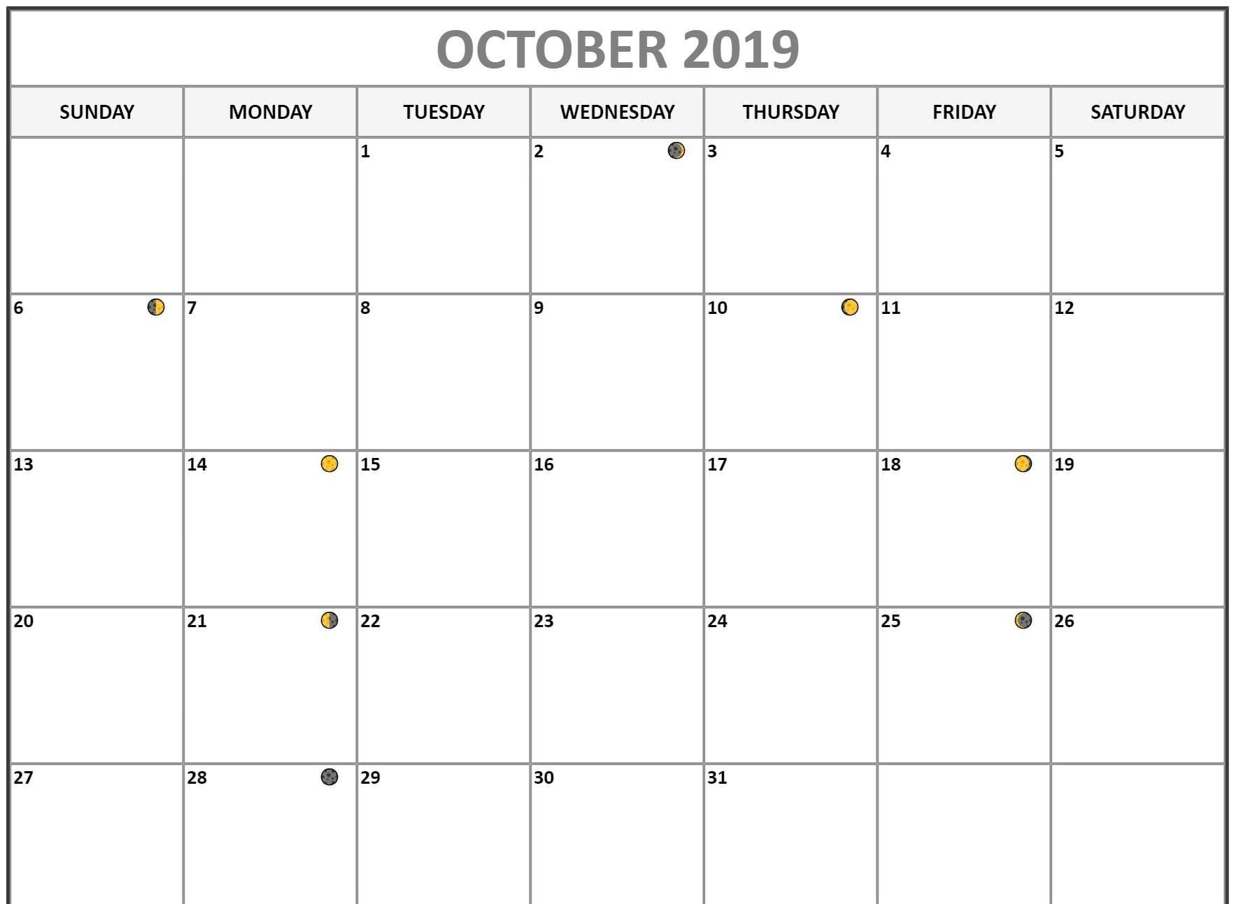Moon Phases for October 2019 Calendar Template 1