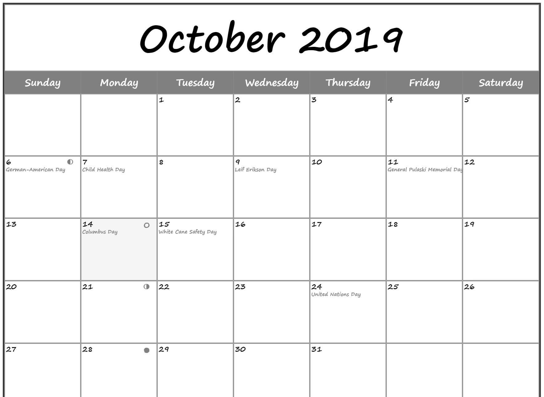 Moon Phases Calendar for October 2019 Template