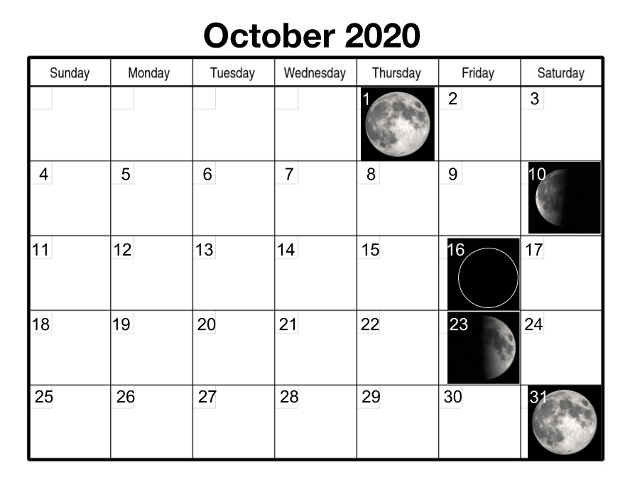 Moon Phases Calendar for October 2020