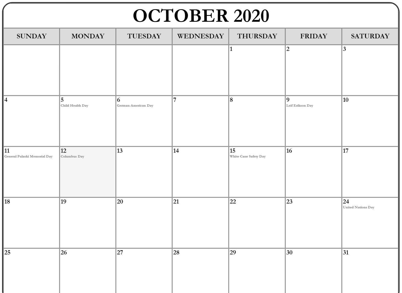 Moon Phases for October 2020 Printable